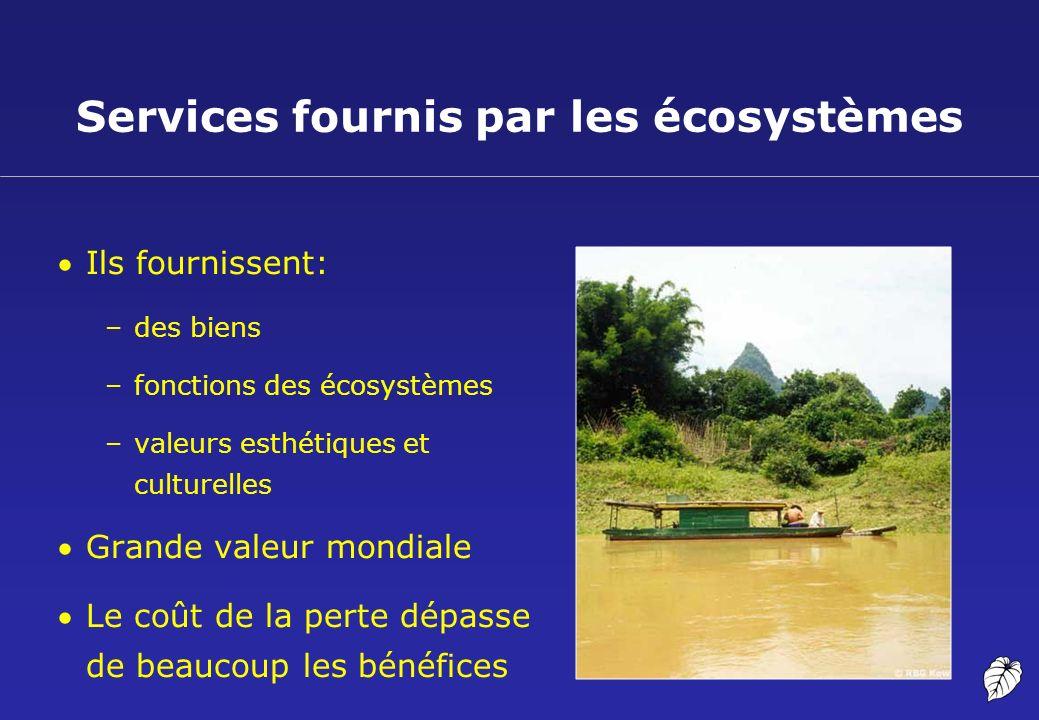 Services fournis par les écosystèmes Ils fournissent: –des biens –fonctions des écosystèmes –valeurs esthétiques et culturelles Grande valeur mondiale
