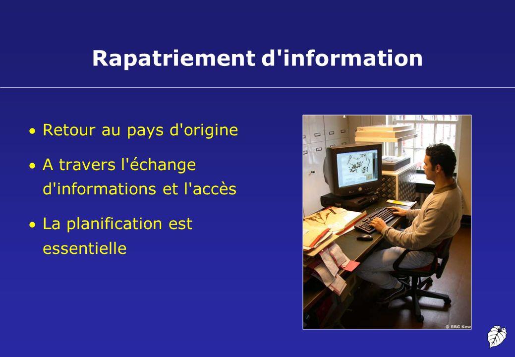 Retour au pays d'origine A travers l'échange d'informations et l'accès La planification est essentielle Rapatriement d'information