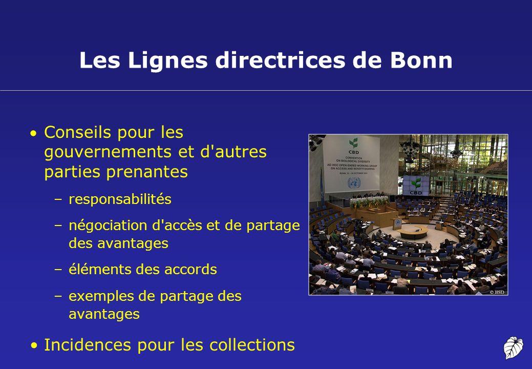 Les Lignes directrices de Bonn Conseils pour les gouvernements et d'autres parties prenantes –responsabilités –négociation d'accès et de partage des a