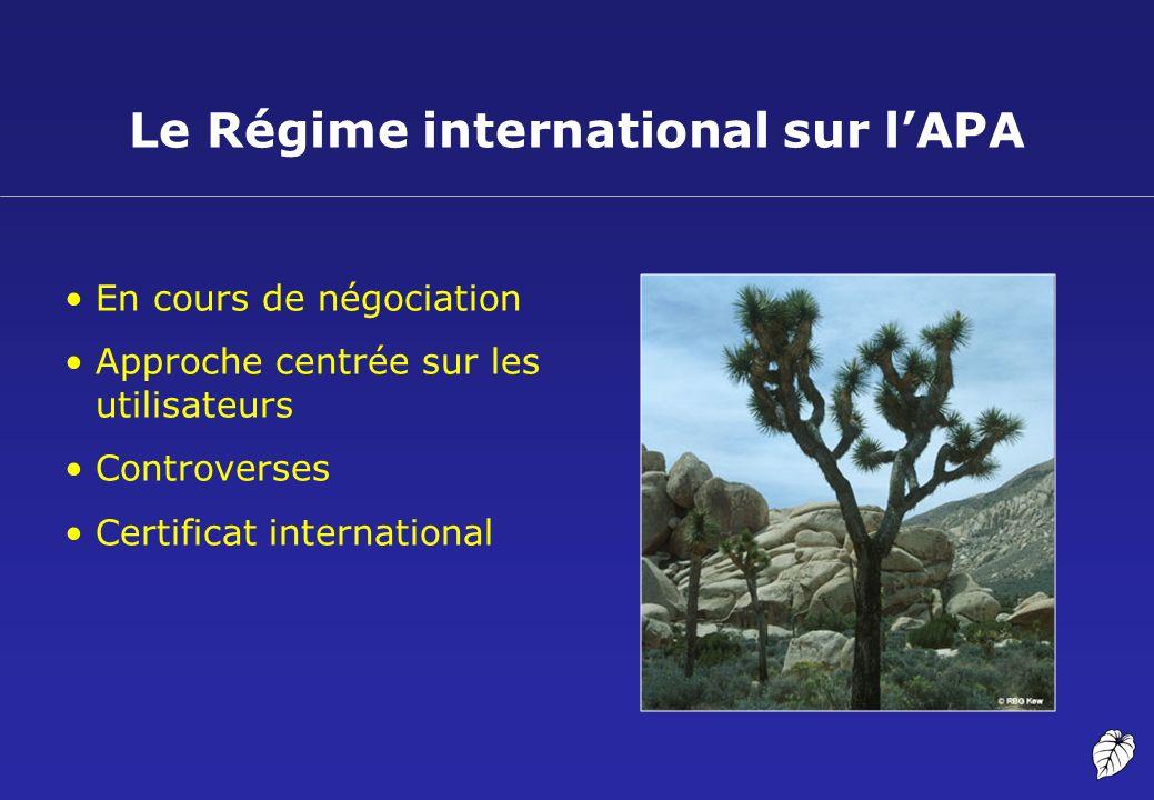 Le Régime international sur lAPA En cours de négociation Approche centrée sur les utilisateurs Controverses Certificat international