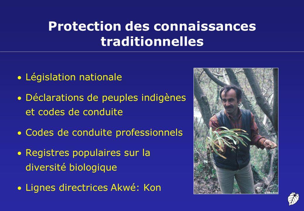 Protection des connaissances traditionnelles Législation nationale Déclarations de peuples indigènes et codes de conduite Codes de conduite profession