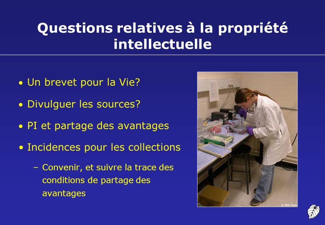 Questions relatives à la propriété intellectuelle Un brevet pour la Vie? Divulguer les sources? PI et partage des avantages Incidences pour les collec