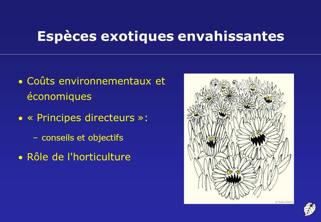 Espèces exotiques envahissantes Coûts environnementaux et économiques « Principes directeurs »: –conseils et objectifs Rôle de l'horticulture