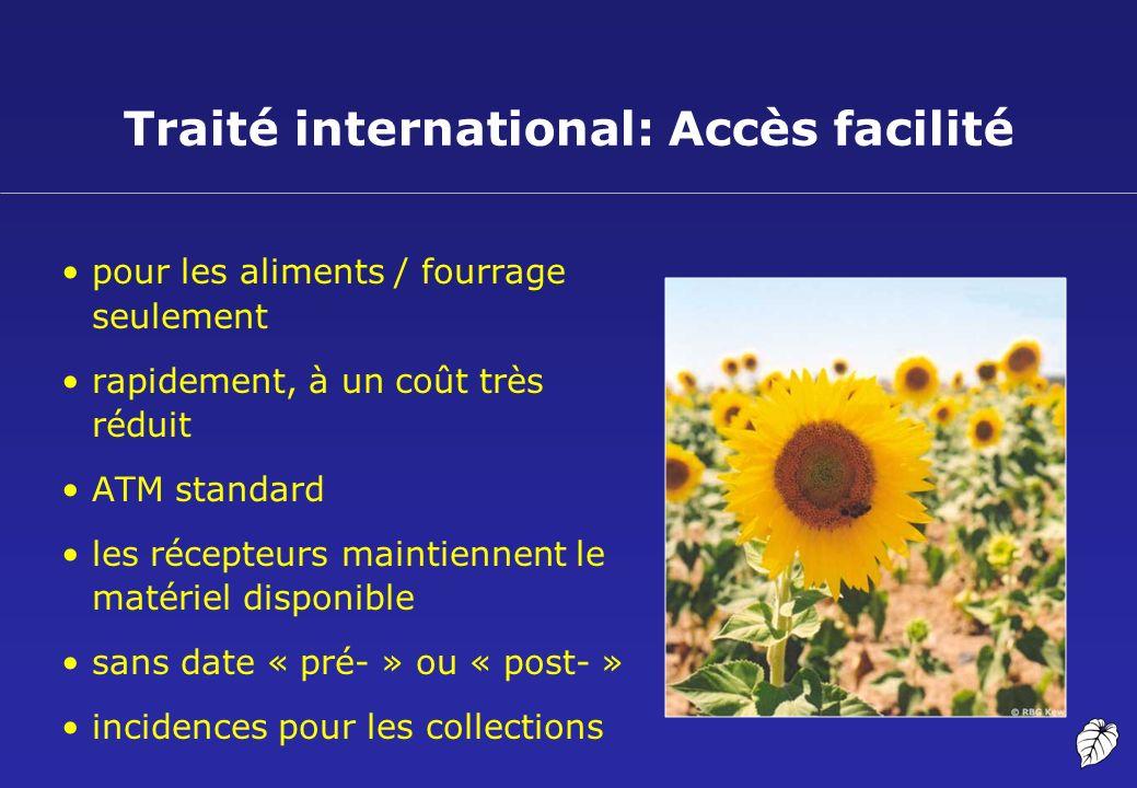 Traité international: Accès facilité pour les aliments / fourrage seulement rapidement, à un coût très réduit ATM standard les récepteurs maintiennent