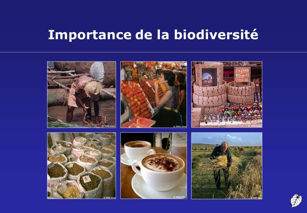 Valeur économique de la biodiversité (1) Estimations des marchés annuels de certains produits dérivés des ressources génétiques Source: ten Kate K et Laird SA (1999), The Commercial Use of Biodiversiy, Earthscan Publications Ltd.