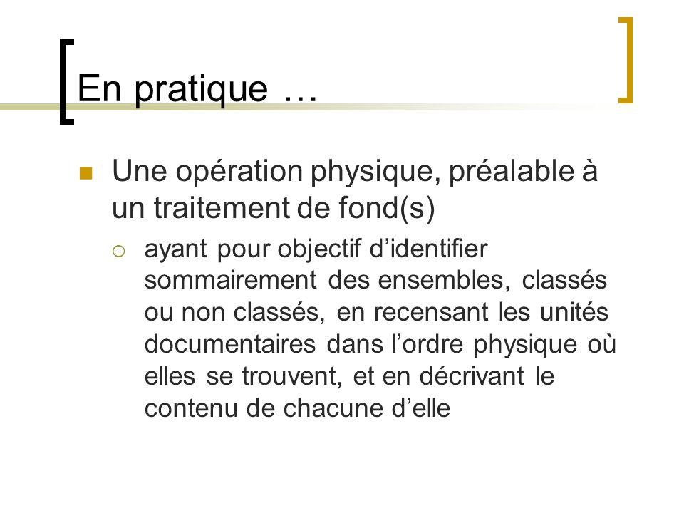 Réalisation pratique Opération très mobilisatrice Opération contraignante Protocole nécessaire