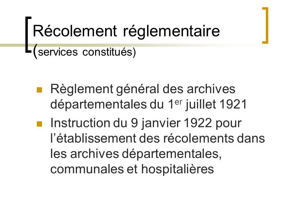 Récolement réglementaire ( services constitués) Règlement général des archives départementales du 1 er juillet 1921 Art.