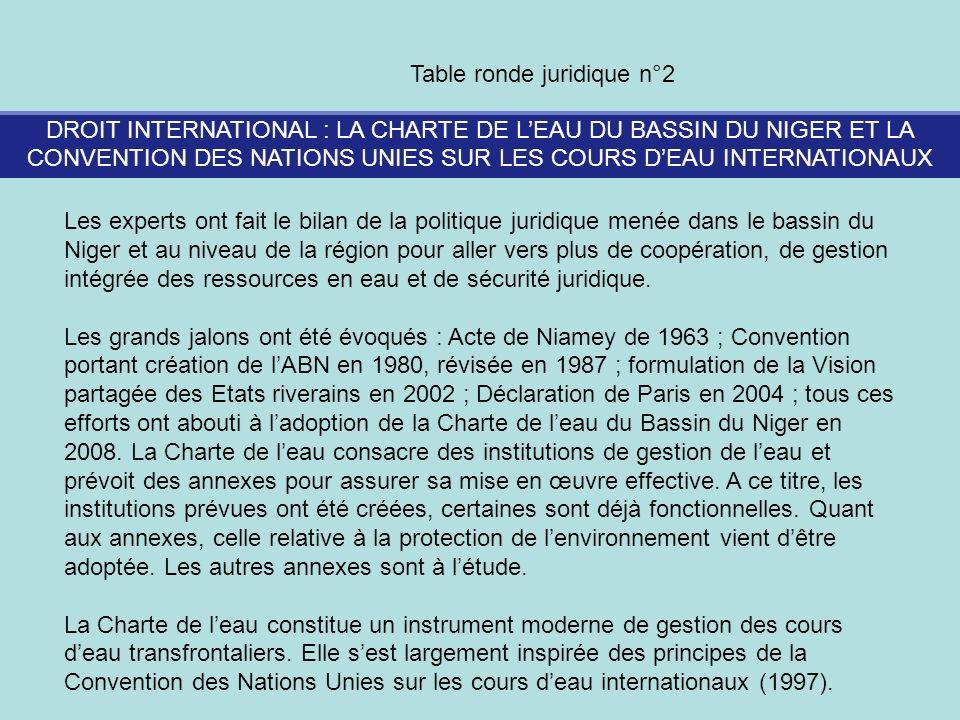 DROIT INTERNATIONAL : LA CHARTE DE LEAU DU BASSIN DU NIGER ET LA CONVENTION DES NATIONS UNIES SUR LES COURS DEAU INTERNATIONAUX Table ronde juridique