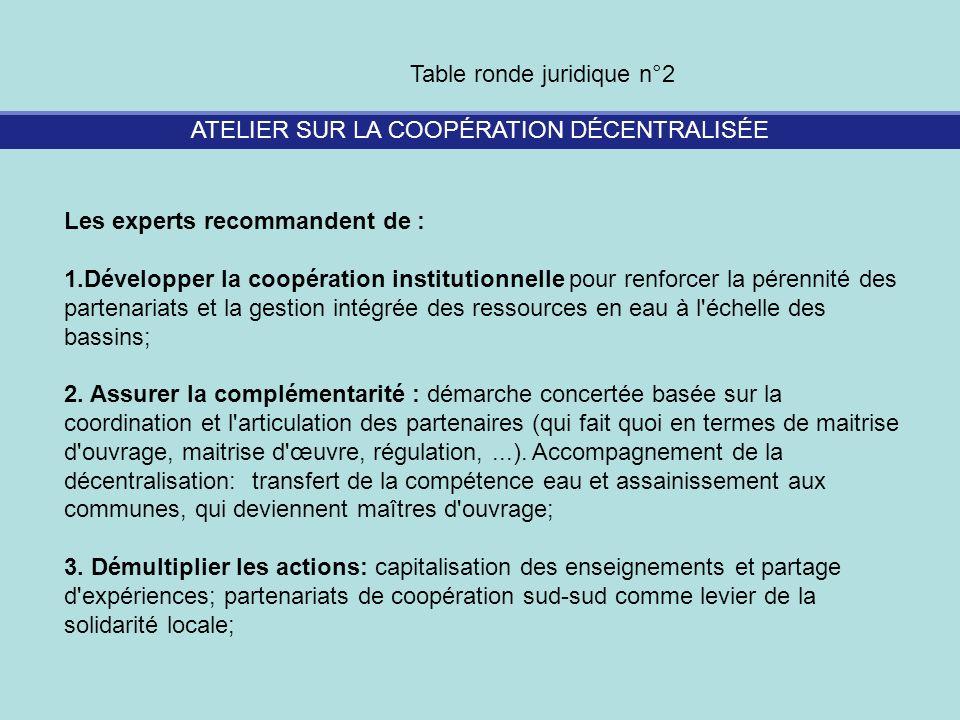ATELIER SUR LA COOPÉRATION DÉCENTRALISÉE Table ronde juridique n°2 Les experts recommandent de : 1.Développer la coopération institutionnelle pour ren