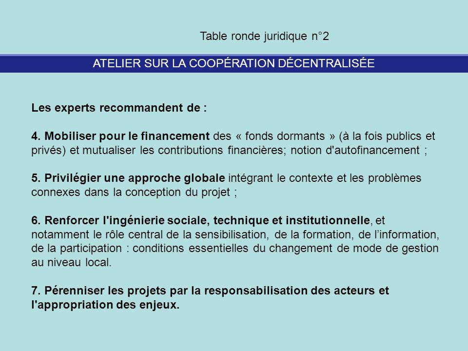 ATELIER SUR LA COOPÉRATION DÉCENTRALISÉE Table ronde juridique n°2 Les experts recommandent de : 4. Mobiliser pour le financement des « fonds dormants