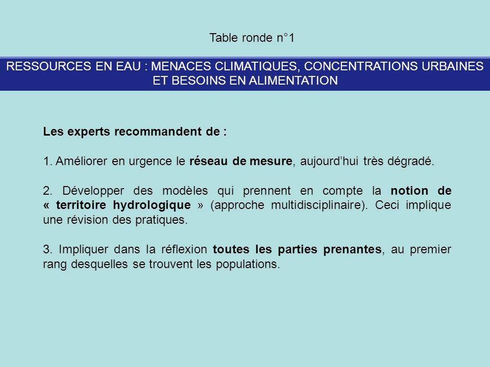 RESSOURCES EN EAU : MENACES CLIMATIQUES, CONCENTRATIONS URBAINES ET BESOINS EN ALIMENTATION Table ronde n°1 Les experts recommandent de : 1. Améliorer