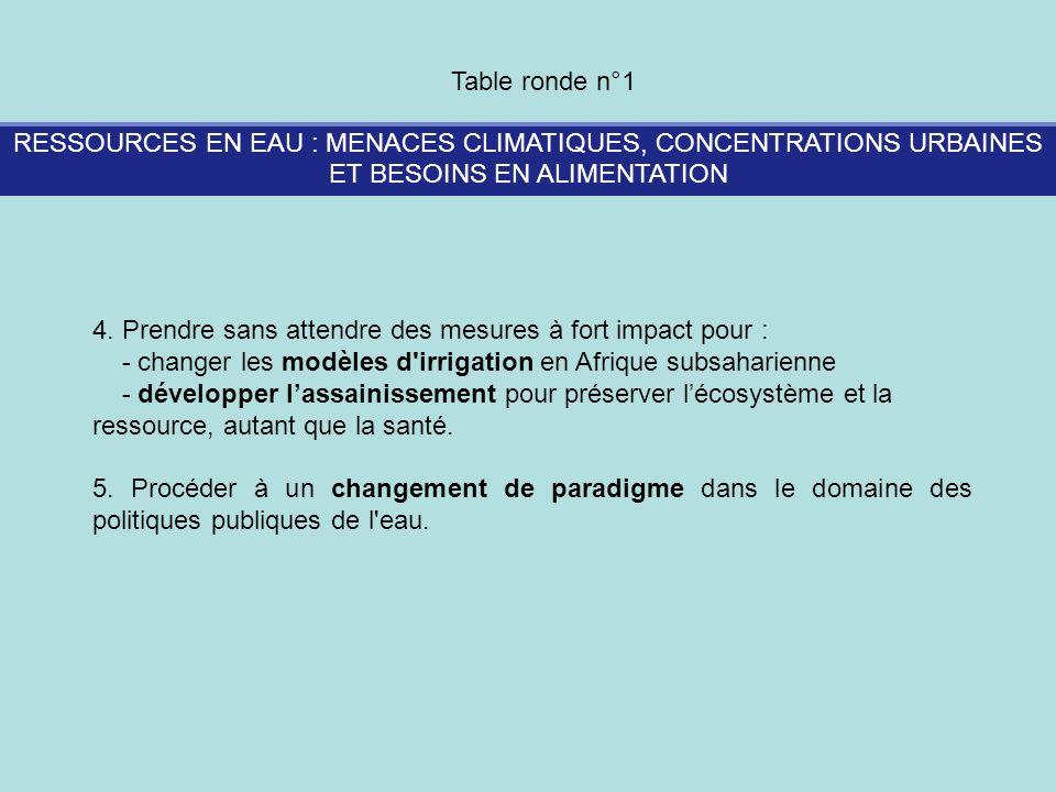 RESSOURCES EN EAU : MENACES CLIMATIQUES, CONCENTRATIONS URBAINES ET BESOINS EN ALIMENTATION Table ronde n°1 4. Prendre sans attendre des mesures à for