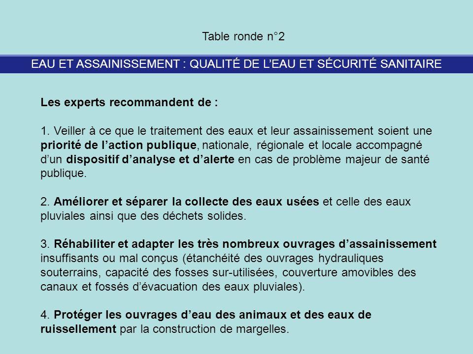 EAU ET ASSAINISSEMENT : QUALITÉ DE LEAU ET SÉCURITÉ SANITAIRE Table ronde n°2 Les experts recommandent de : 1. Veiller à ce que le traitement des eaux