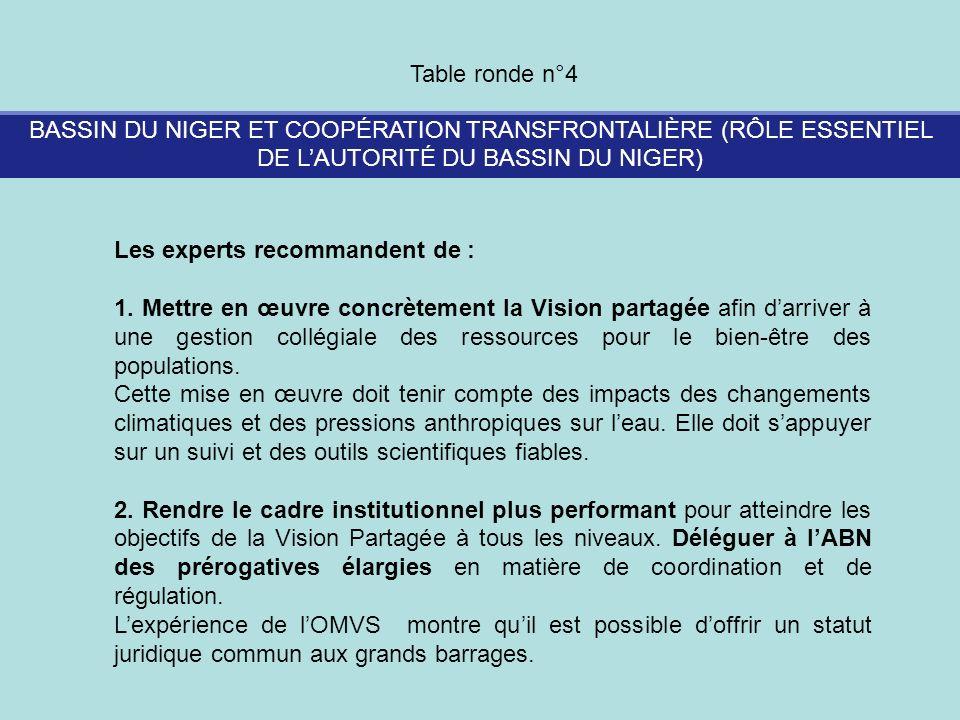 BASSIN DU NIGER ET COOPÉRATION TRANSFRONTALIÈRE (RÔLE ESSENTIEL DE LAUTORITÉ DU BASSIN DU NIGER) Table ronde n°4 Les experts recommandent de : 1. Mett