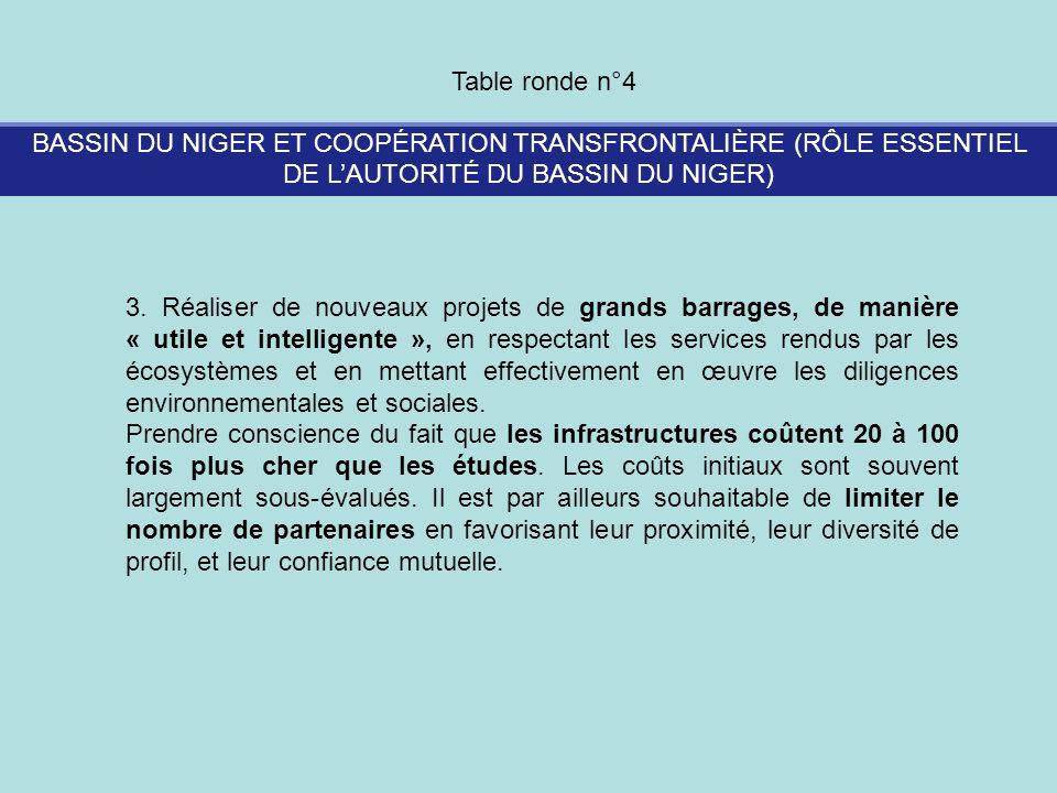 BASSIN DU NIGER ET COOPÉRATION TRANSFRONTALIÈRE (RÔLE ESSENTIEL DE LAUTORITÉ DU BASSIN DU NIGER) Table ronde n°4 3. Réaliser de nouveaux projets de gr