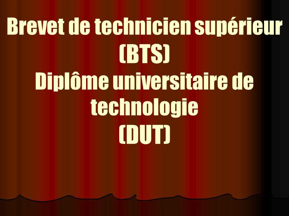 Brevet de technicien supérieur (BTS) Diplôme universitaire de technologie (DUT)