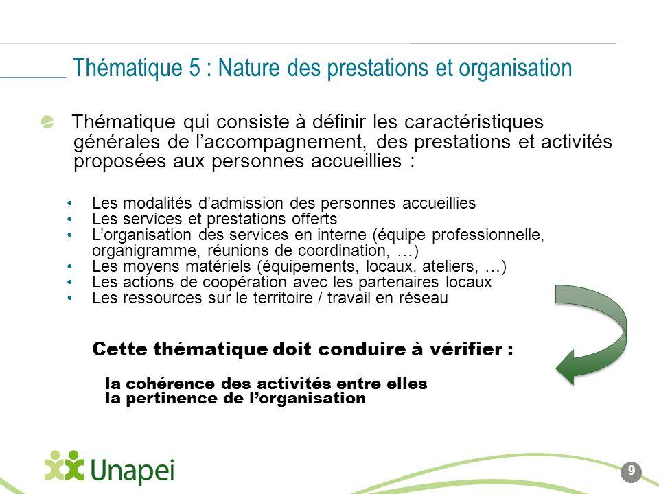 Thématique qui consiste à définir les caractéristiques générales de laccompagnement, des prestations et activités proposées aux personnes accueillies