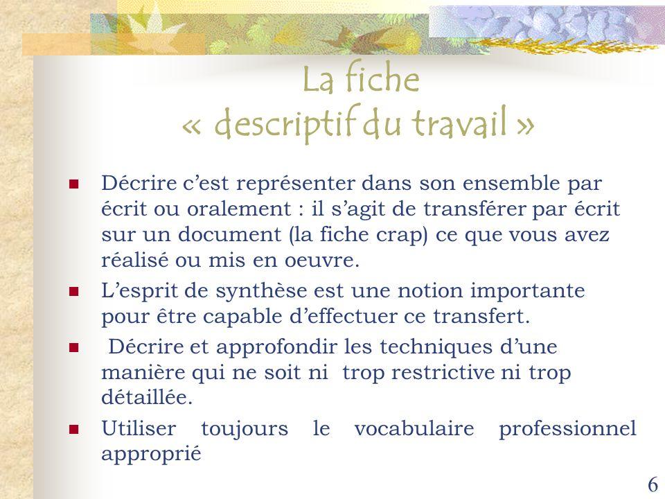 6 La fiche « descriptif du travail » Décrire cest représenter dans son ensemble par écrit ou oralement : il sagit de transférer par écrit sur un docum