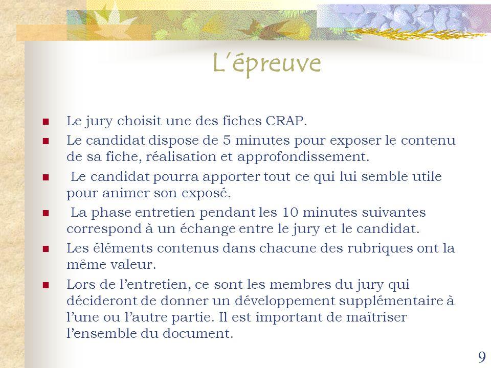 9 Lépreuve Le jury choisit une des fiches CRAP. Le candidat dispose de 5 minutes pour exposer le contenu de sa fiche, réalisation et approfondissement