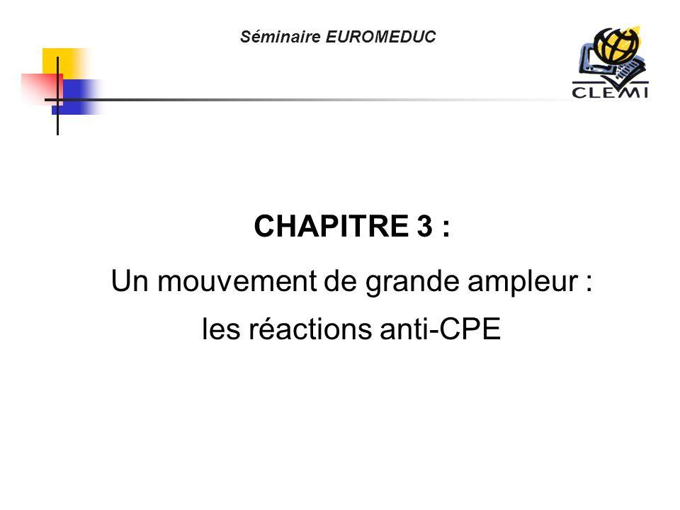 CHAPITRE 3 : Un mouvement de grande ampleur : les réactions anti-CPE Séminaire EUROMEDUC