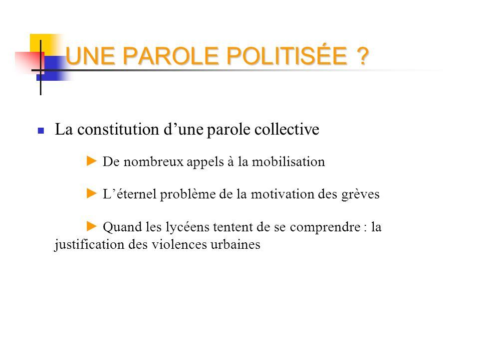 UNE PAROLE POLITISÉE ? La constitution dune parole collective De nombreux appels à la mobilisation Léternel problème de la motivation des grèves Quand