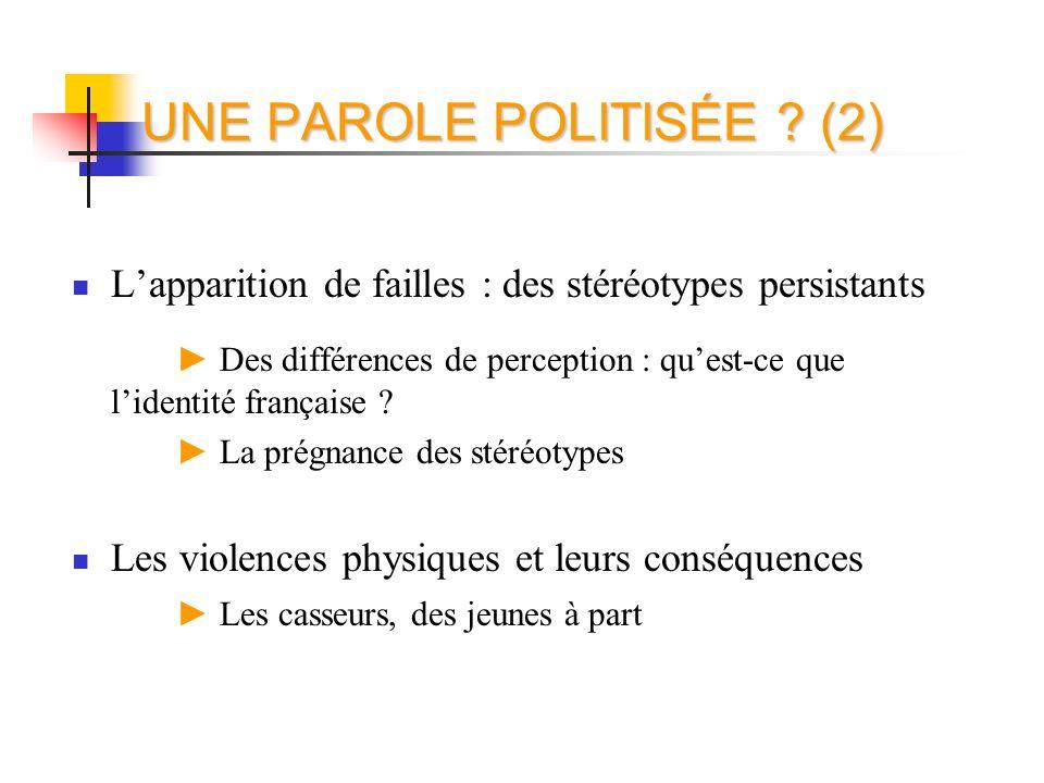 UNE PAROLE POLITISÉE ? (2) Lapparition de failles : des stéréotypes persistants Des différences de perception : quest-ce que lidentité française ? La