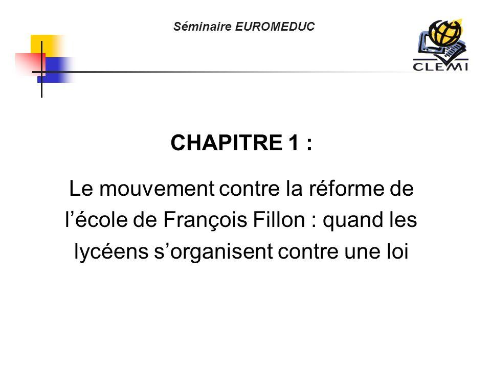 CHAPITRE 1 : Le mouvement contre la réforme de lécole de François Fillon : quand les lycéens sorganisent contre une loi Séminaire EUROMEDUC