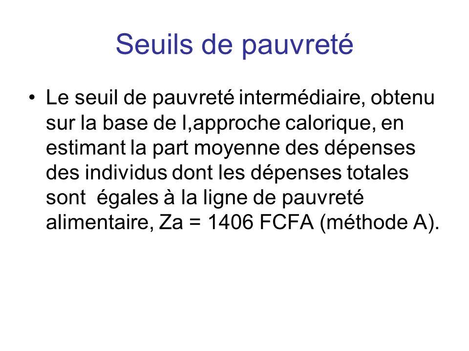 Seuils de pauvreté Le seuil de pauvreté intermédiaire, obtenu sur la base de l,approche calorique, en estimant la part moyenne des dépenses des indivi