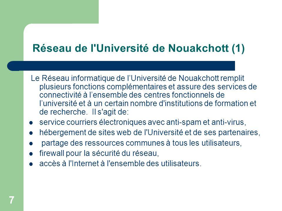 7 Réseau de l'Université de Nouakchott (1) Le Réseau informatique de lUniversité de Nouakchott remplit plusieurs fonctions complémentaires et assure d