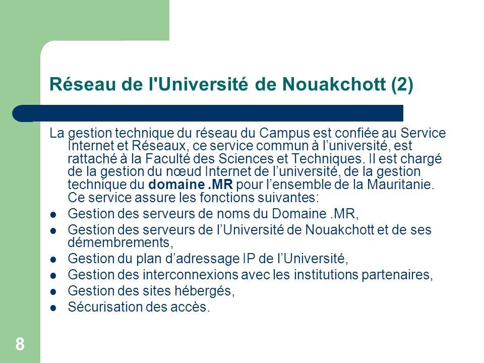 9 Les Nœuds de Raccordement et Equipements de l Université L Université de Nouakchott dispose de 2 (deux) nœuds: une ligne spécialisée de 256 kbps, une liaison VSAT d un débit 128 Kbs en down et de 64 Kbs en up, destinée essentiellement au Centre de l Université Virtuelle Africaine de Nouakchott.