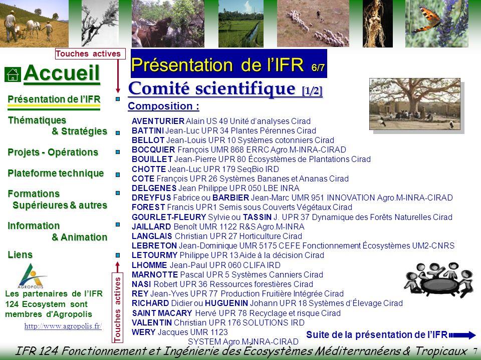 IFR 124 Fonctionnement et Ingénierie des Écosystèmes Méditerranéens & Tropicaux Accueil Présentation de lIFR Thématiques & Stratégies & Stratégies Projets - Opérations Plateforme technique Formations Formations Supérieures & autres Supérieures & autres Information & Animation & Animation Liens Liens Les partenaires de lIFR 124 Ecosystem sont membres d Agropolis Touches actives 8 Comité scientifique [1/2] Fonctionnement et rôles : Réunion mensuelle tous les 3 ème jeudi à Agropolis à 14h30 Dynamisation de la recherche interdisciplinaire par appel doffre Organisation de Journées Scientifiques Coordination du séminaire permanent mensuel Appui à la formation dans lED SIBAGHE mastère recherche FENEC et divers mastères Pro Présentation de lIFR 7/7 http://www.agropolis.fr/ Coordonnées des agents dans les Annuaires en ligne suivants : Cefe-Cnrs : http://www.cefe.cnrs.fr/Annuaires.htm http://www.cefe.cnrs.fr/Annuaires.htm Cirad : http://www.cirad.fr/fr/annuaire/index.php http://www.cirad.fr/fr/annuaire/index.php Inra : http://www.inra.fr/annuaire/ (intranet Inra) http://www.inra.fr/annuaire/ Ird : http://annuaire.ird.fr/ http://annuaire.ird.fr/