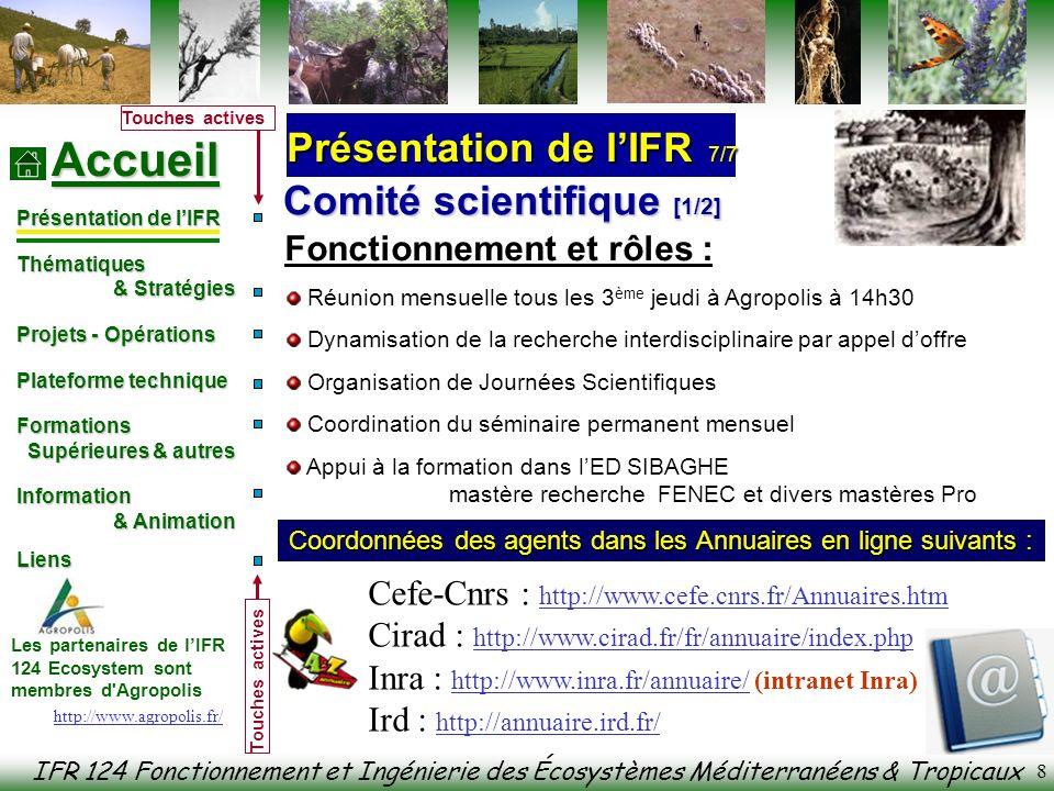 IFR 124 Fonctionnement et Ingénierie des Écosystèmes Méditerranéens & Tropicaux Accueil Présentation de lIFR Thématiques & Stratégies & Stratégies Projets - Opérations Plateforme technique Formations Formations Supérieures & autres Supérieures & autres Information & Animation & Animation Liens Liens Les partenaires de lIFR 124 Ecosystem sont membres d Agropolis Touches actives 29 Séminaire « Séquestration de Carbone dans les Ecosystèmes Forestiers » 16-18 Novembre 2004 (coordonné par JP Bouillet) Atelier « SCV » le 29-30 Novembre 2004 (coordonné par E Scopel et B Triomphe) École chercheur « CREP » 28 mars– 4 Avril 2005 (coordonné par F.Dreyfus et M.