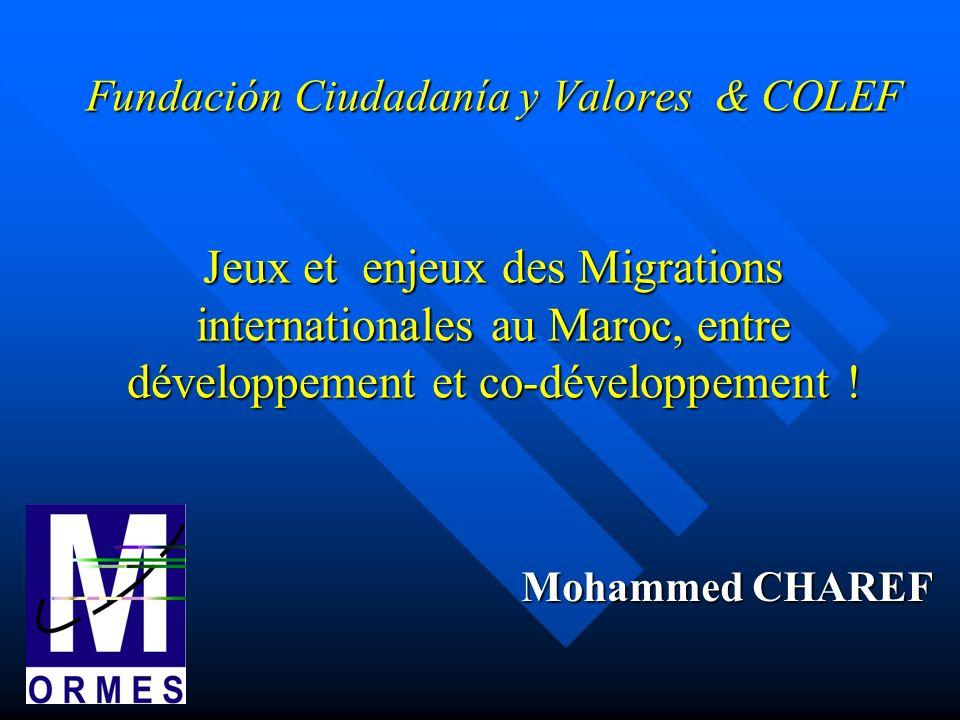 Fundación Ciudadanía y Valores & COLEF Jeux et enjeux des Migrations internationales au Maroc, entre développement et co-développement ! Mohammed CHAR