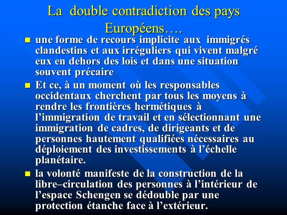 La double contradiction des pays Européens…. une forme de recours implicite aux immigrés clandestins et aux irréguliers qui vivent malgré eux en dehor