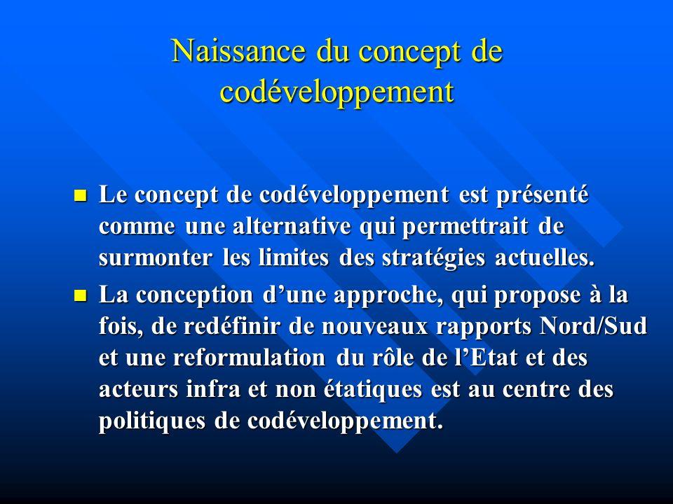 Naissance du concept de codéveloppement Le concept de codéveloppement est présenté comme une alternative qui permettrait de surmonter les limites des
