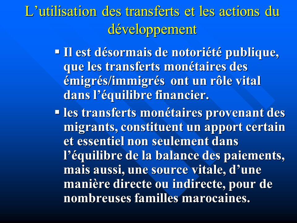 Lutilisation des transferts et les actions du développement Il Il est désormais de notoriété publique, que les transferts monétaires des émigrés/immig