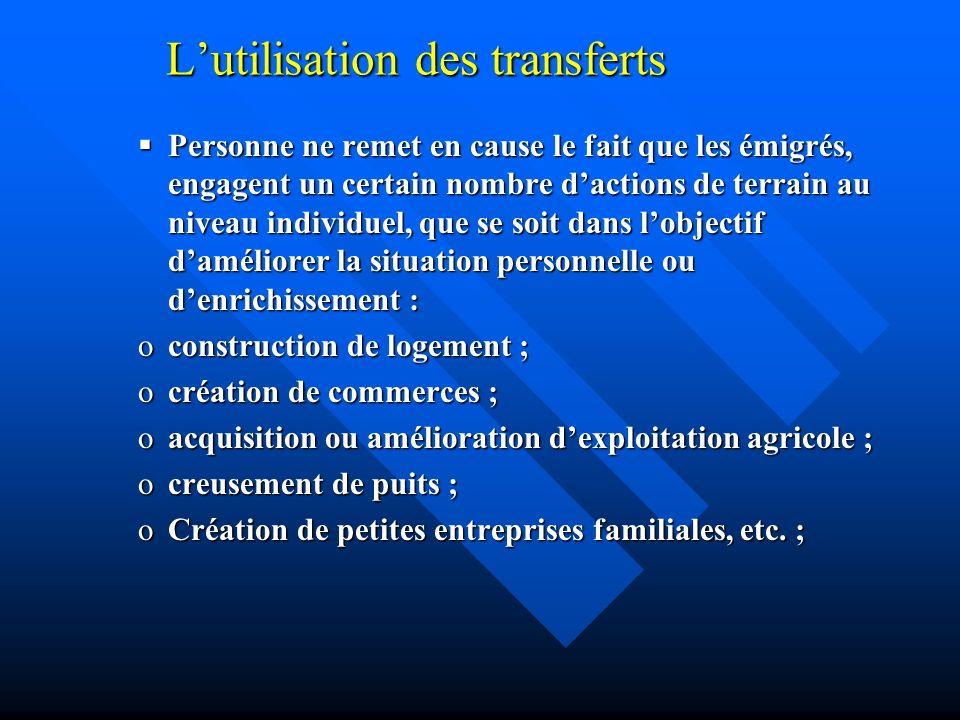 Lutilisation des transferts Personne ne remet en cause le fait que les émigrés, engagent un certain nombre dactions de terrain au niveau individuel, q