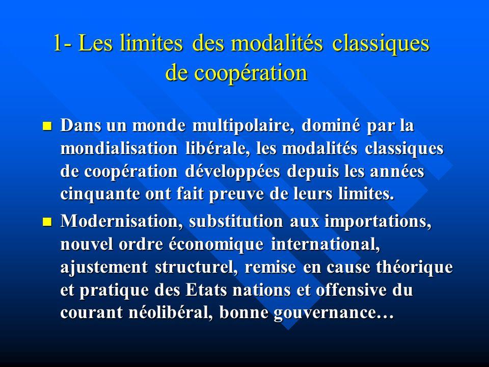 2- Les limites des modalités classiques de coopération Finalement on a limpression que, mis en perspective avec les grandes évolutions du monde, les approches théoriques de développement sont avant tout des visions du Nord, au service des intérêts de ce dernier.