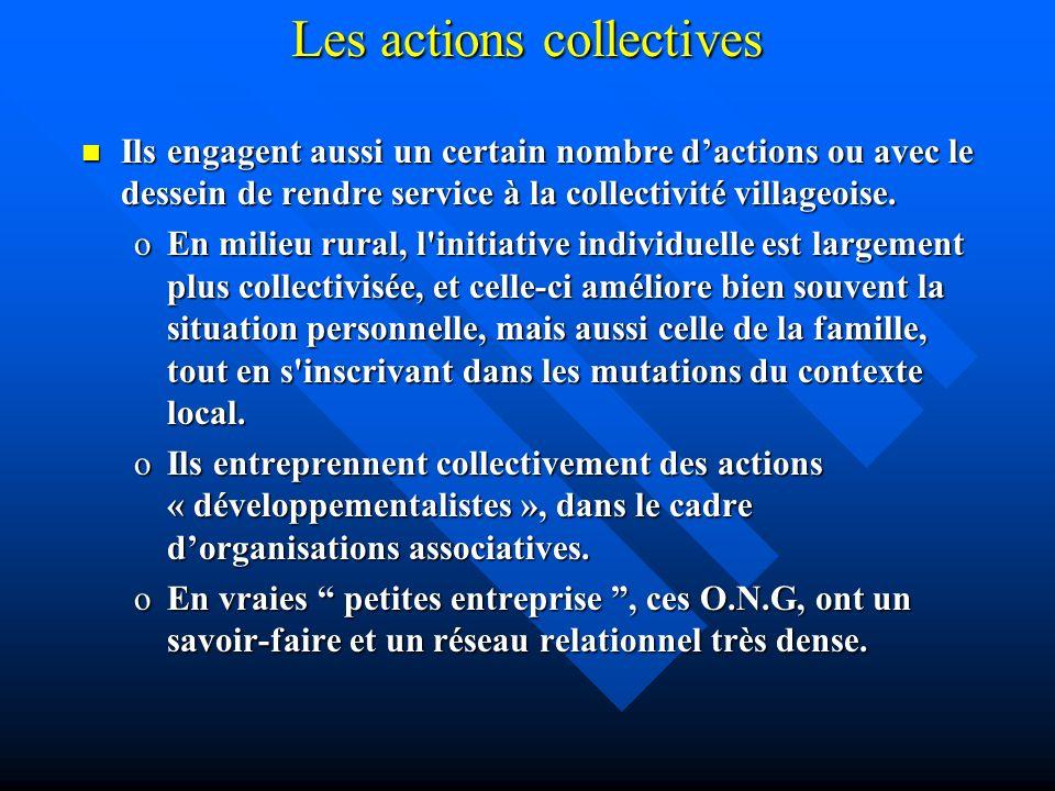 Les actions collectives Ils engagent aussi un certain nombre dactions ou avec le dessein de rendre service à la collectivité villageoise. Ils engagent