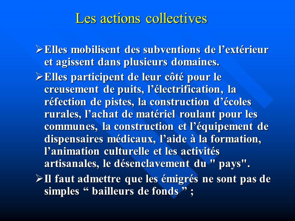Les actions collectives Elles mobilisent des subventions de lextérieur et agissent dans plusieurs domaines. Elles mobilisent des subventions de lextér