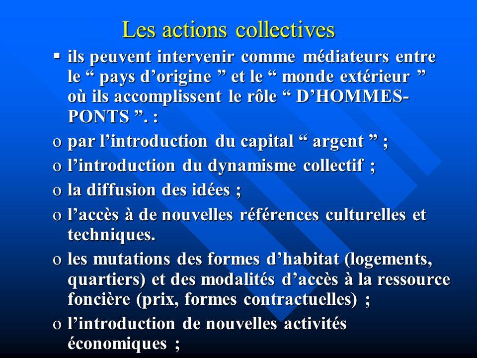 Les actions collectives ils peuvent intervenir comme médiateurs entre le pays dorigine et le monde extérieur où ils accomplissent le rôle DHOMMES- PON