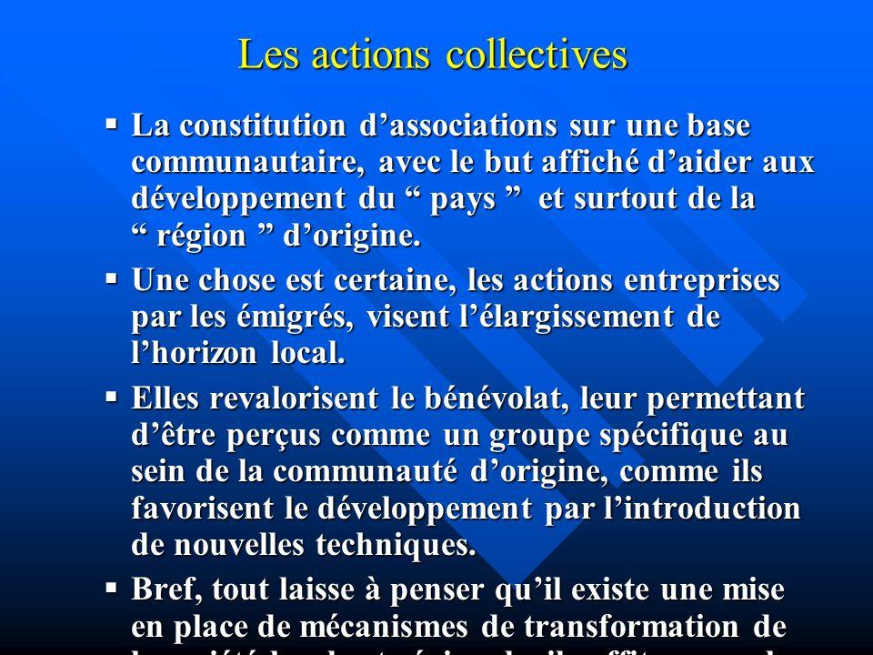 Les actions collectives La La constitution dassociations sur une base communautaire, avec le but affiché daider aux développement du pays pays et surt
