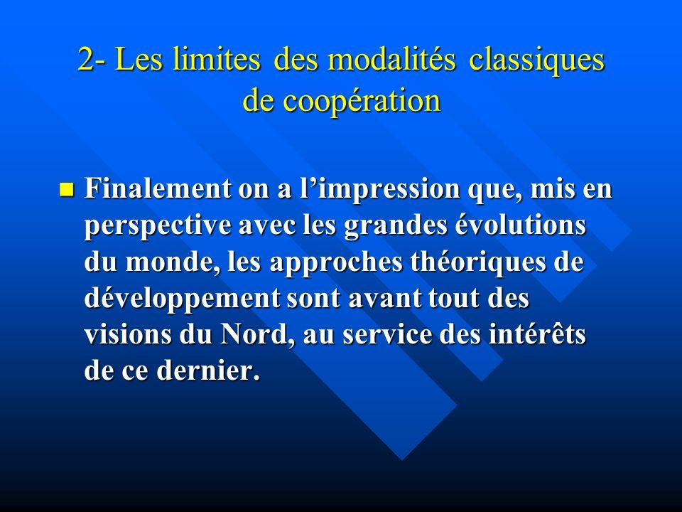 2- Les limites des modalités classiques de coopération Finalement on a limpression que, mis en perspective avec les grandes évolutions du monde, les a