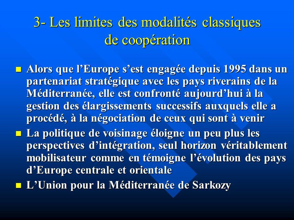 3- Les limites des modalités classiques de coopération Alors que lEurope sest engagée depuis 1995 dans un partenariat stratégique avec les pays rivera