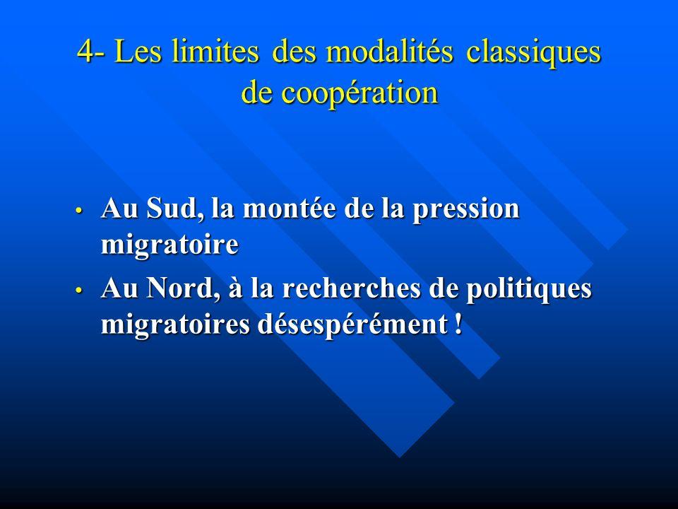 4- Les limites des modalités classiques de coopération Au Sud, la montée de la pression migratoire Au Sud, la montée de la pression migratoire Au Nord