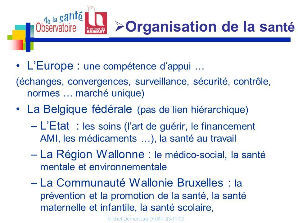 Michel Demarteau ORSIF 23/11/09 LEurope : une compétence dappui … (échanges, convergences, surveillance, sécurité, contrôle, normes … marché unique) L