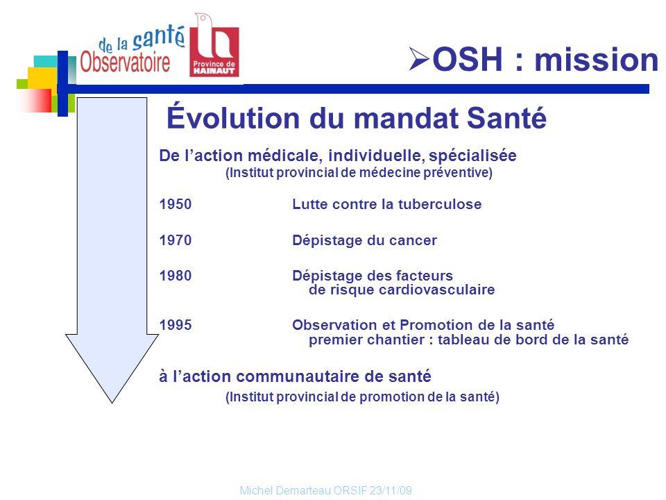 Michel Demarteau ORSIF 23/11/09 Évolution du mandat Santé De laction médicale, individuelle, spécialisée (Institut provincial de médecine préventive)