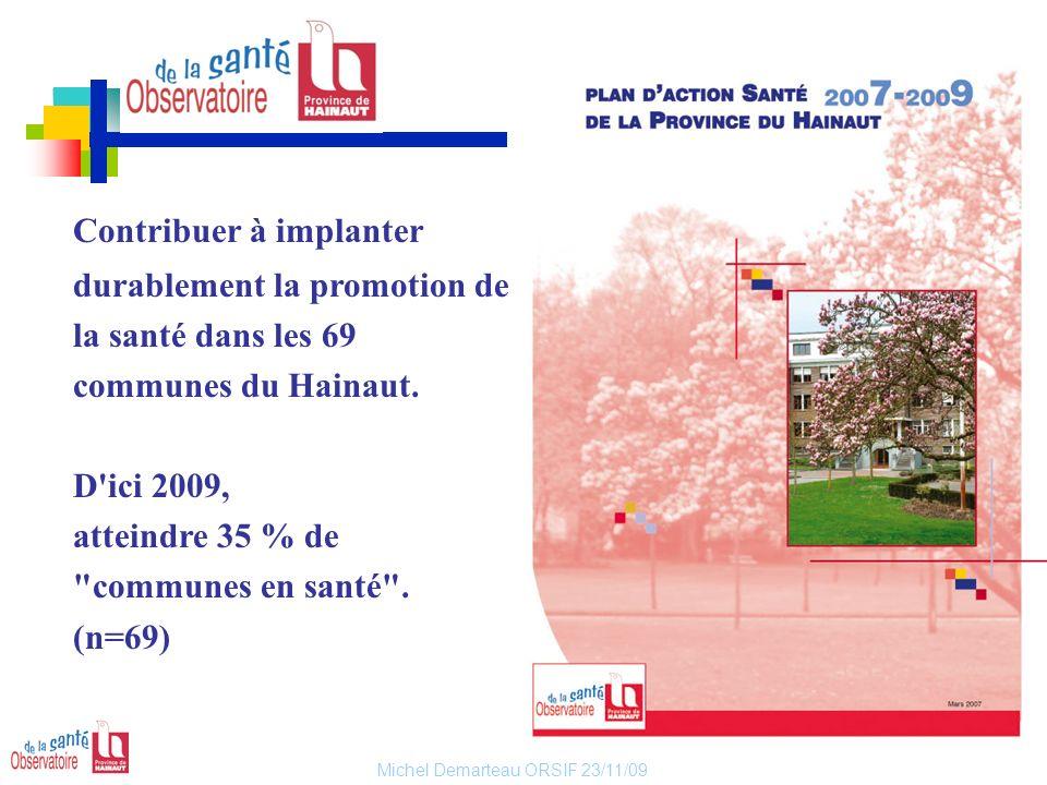 Michel Demarteau ORSIF 23/11/09 Contribuer à implanter durablement la promotion de la santé dans les 69 communes du Hainaut. D'ici 2009, atteindre 35