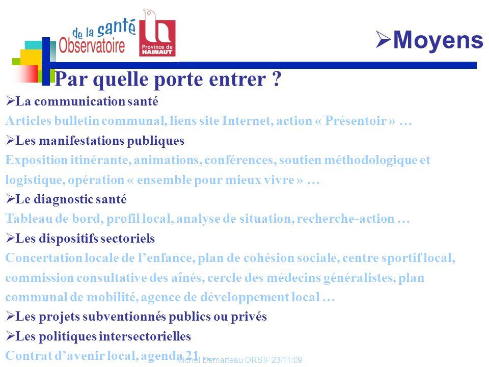 Michel Demarteau ORSIF 23/11/09 Par quelle porte entrer ? La communication santé Articles bulletin communal, liens site Internet, action « Présentoir