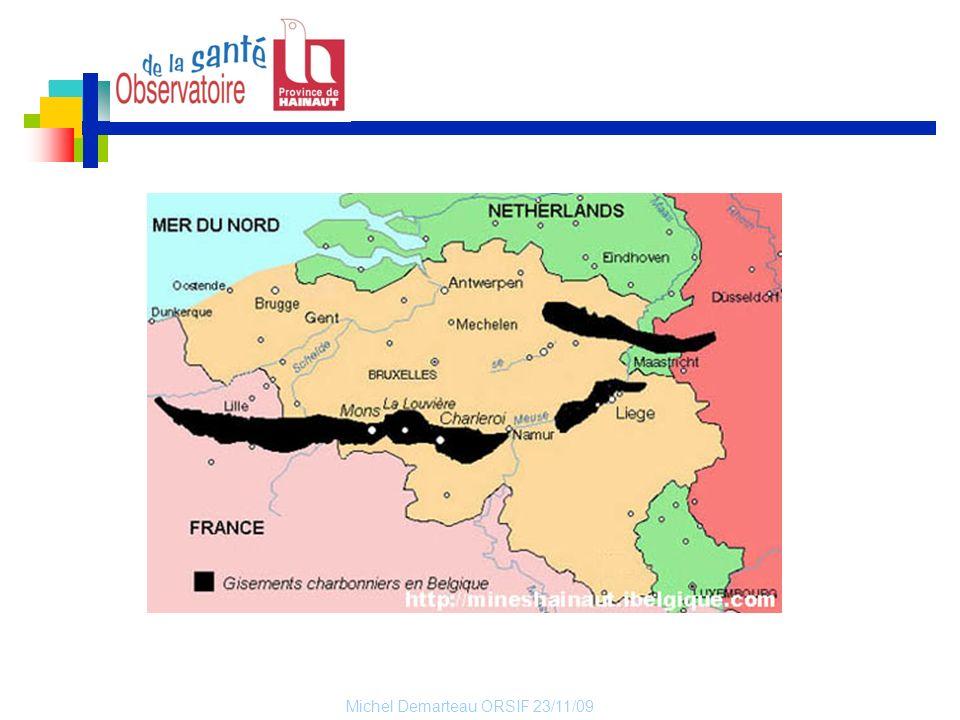 Michel Demarteau ORSIF 23/11/09 Carte I.5 : Indice de vieillissement de la population, Hainaut (par commune), 2003 L indice de vieillissement est le rapport entre les personnes de plus de 65 ans et les personnes de moins de 20 ans.